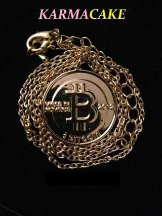 "BITCOIN Gold NECKLACE Anonymous Mint Bit Coin Digital Online Movement Icon with a 16"" Chain"