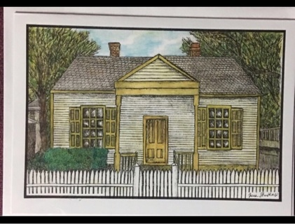 "QUAINT COTTAGE WITH PICKET FENCE - 5 x 7"" art card by artist Nina Struthers - GIN ONLY"
