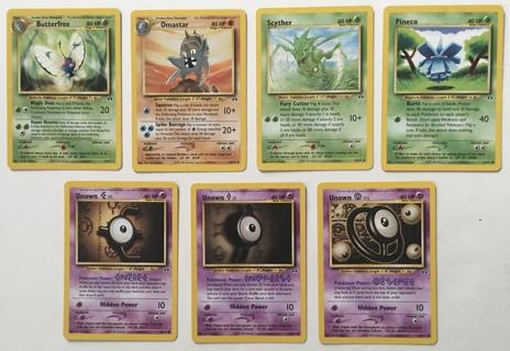 Pokemon Neo Discovery Non-Holo Cards Lot of 7 - 1 Rare, 2 Uncommon, 4 Common Trading Cards