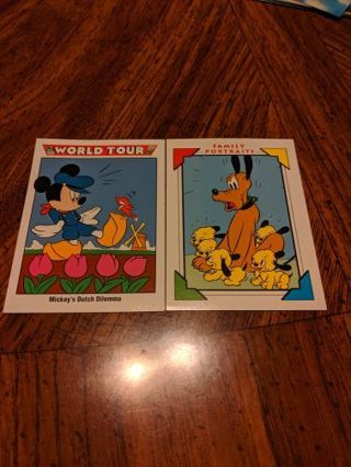2 Disney trading cards Mickey mouse & Pluto
