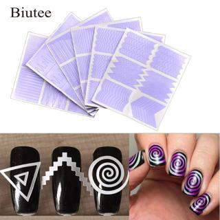 Biutee 12pcs/set Nail Art Guide Tips Hollow Stencils Sticker French Manicure Template 3D Vinyls De