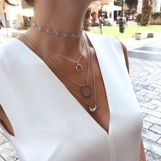 4 Pcs/ Set Retro Fashion Moon Stars Pendant Multilayer Necklace Women Exquisite Silver Clavicle
