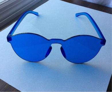 New Blulu Round Rimless Sunglasses Blue Coloy