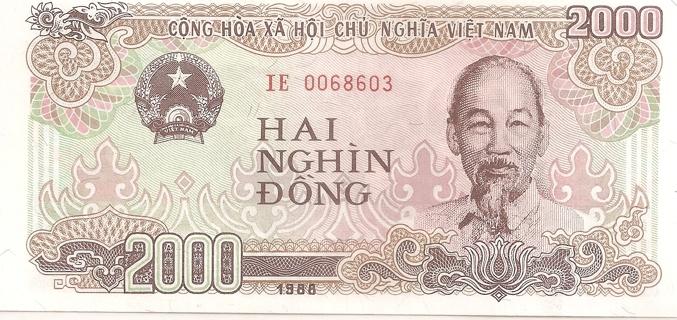 2000 Vietnam Dong Hai Nghin Banknote