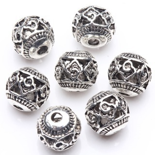 20PCs Tibetan Silver Hollow Cloud Pattern Round Spacer Loose Beads 8mm