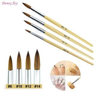 1PC Fiber Hair Wood Acrylic Nail Art Brush Round Size 8/10/12/14 UV Gel Carving Pen Brushes Liquid