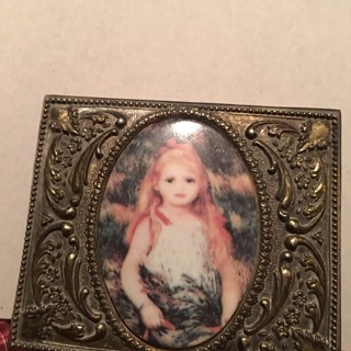 Beautiful Antique/vintage metal jewelry box velvet/felt lined, crafted with porcelain picture