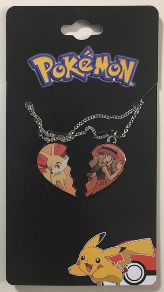 """Pokemon Serena and Fennekin Best Friends Pendants and 18"""" Stainless Steel Chain Necklace Set - NEW"""