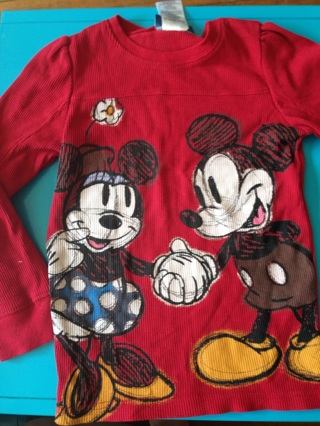 Disney Official Micky & Mini Mouse Shirt Girls 6-7