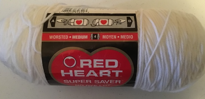 Red heart super saver yarn 8 oz acrylic pattern on back of label White