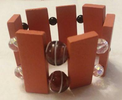 BNHM Wood, Glass & Swarovski Crystal Stretch Bracelet
