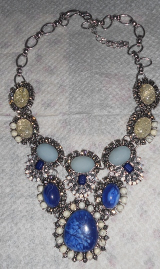 GORGEOUS MULTI GEM NECKLACE SILVER SETTING ~ VALENTINE GIFT