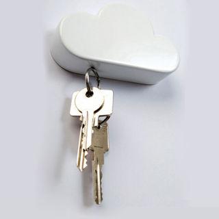 Cool White Cloud Shape Magnetic Key Holder 3M Sticker Backside Home Wall Hanger