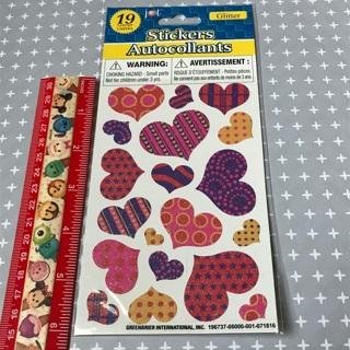 Glitter Hearts sticker sheet NEW