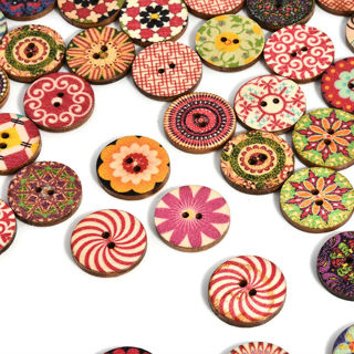 50pcs/lot 2 Holes Mixed Flower Wooden Button Sewing Scrapbooking DIY Craft Gift