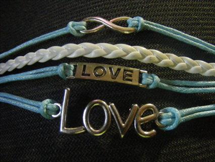 Vintage Handmade Infinity Bracelet Love Sky Blue Rope White Leather Weave
