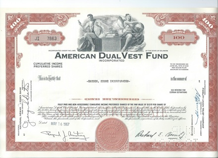 American DualVest Fund stock certificate 1967