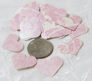 Pink Glossy Patterned Heart Die Cuts 40