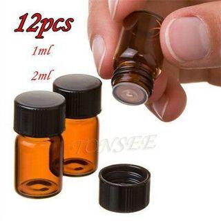 Empty Mini 1/2 ml Amber Glass Essential Oil Bottle Orifice Reducer Cap 12 Pack
