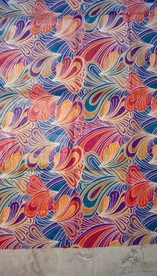 Fabric - Teal, orange, multi color wax print