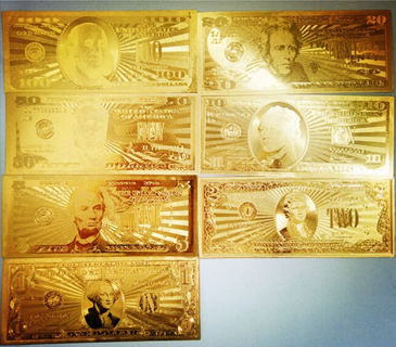 7 Pieces Lot 24K Gold Commemorative Notes  -  American Collection