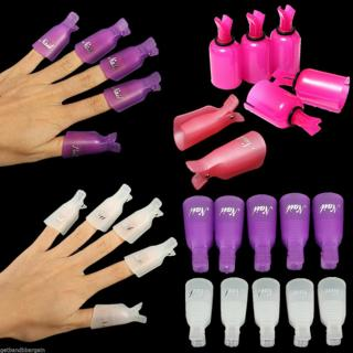 10pcs Plastic Nail Soak Off UV Gel Art Tips Polish Remover Wrap Gelish Clip Cap