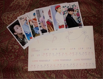 BTS UNOFFICIAL PHOTOCARDS + OFFICIAL LOVE YOURSELF STICKERS