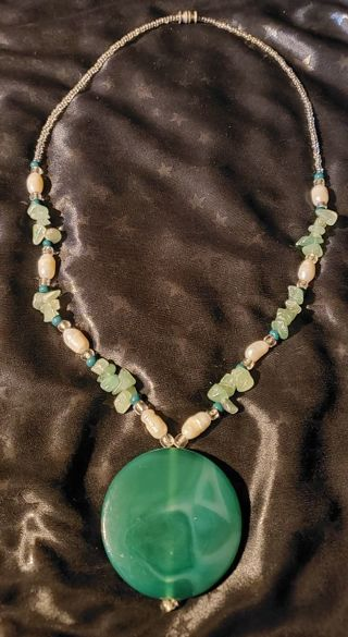 Genuine Jade and Freshwater Pearl Necklace