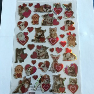 ☽♡ Adorable Pets Cats And Dogs Metallic Dimensional Sticker Sheet NEW ♡☽