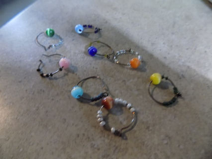 Set of 8 assorted colors cats eye bead wine glass charms
