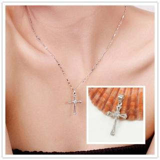 New Womens Exquisite Silver Cross Pendant Necklace Fashion Jewelry Hot Gift