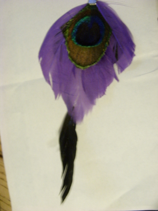 Peacock, purple and black feather pendant