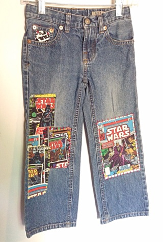 Polo Ralph Lauren boys size 5 jeans / Star Wars hand stitched patched jeans