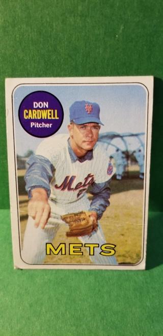 1969 - TOPPS EXMT - NRMT BASEBALL - CARD NO. 193 - DON CARDWELL - METS