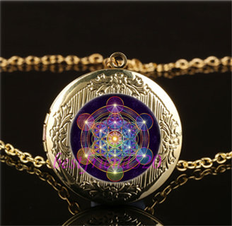Metatron Cube Photo Cabochon Glass Gold Necklace