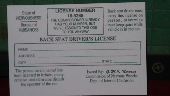 BACK SEAT DRIVES LICENSE