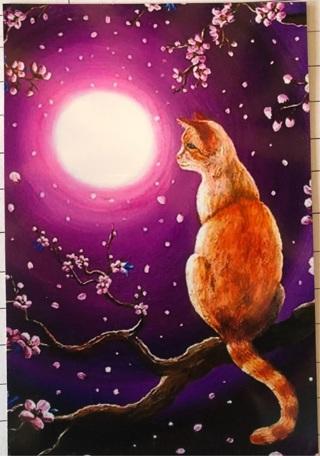 "ORANGE CAT PINK MOON - 5 x 3"" MAGNET"