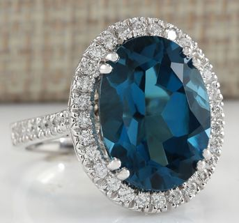 Women Fashion London Blue Topaz Gemstone 925 Silver Ring Wedding Gifts Jewelry