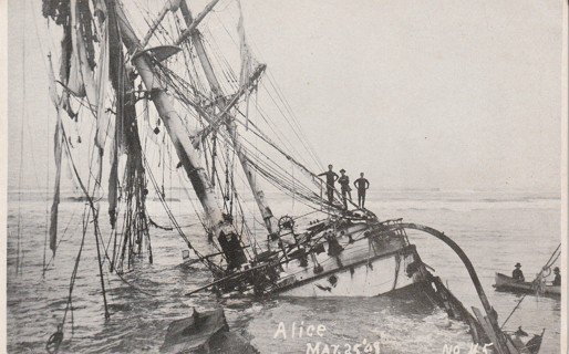Vintage Used Postcard: 1908 Wreck of the Alice