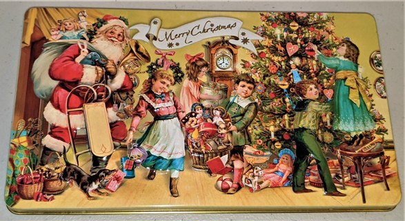 """Merry Christmas tin - size 8 1/4"""" x 4 1/2"""" x 3/4"""" - excellent condition"""