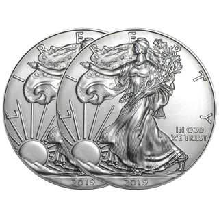 Two (2) 2019 American Silver Eagle 1 Ounce Bullion Coins