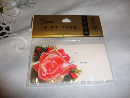 Vintage ~ 5 Rose Gift Tags by Gibson NIB ~ Free Shipping