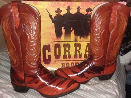 New in Box Corral Mens Western Eel and leather boots. Size 10 D