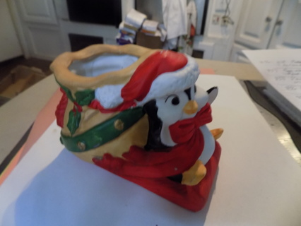 1989 Vintage House of Lloyd ceramic penguin on sled with toy bag