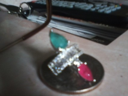 Genuine,Natural Emerald,Ruby,Earring Cuffs