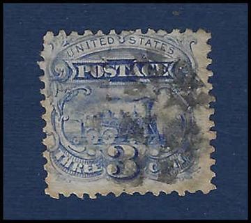 1869 US 'Locomotive' Stamp with G grill visible, U/F, Scott #114, est CV $10.39