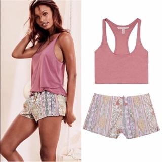 victoria's secret short pajama set pjs tank short  new extrasmall signature stripes nwt