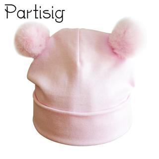 Partisig Baby Hat Double Pompom Hat For Girls Cotton Kids Cap Fashion Children's Hats Caps