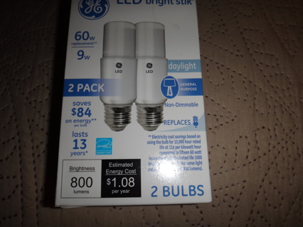2 New GE Bright Stik 60W Equivalent Daylight A19 General Purpose LED Light Bulb