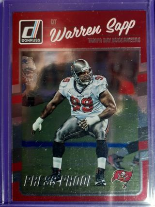 2016 Donruss Press Proofs Silver #281 Warren Sapp